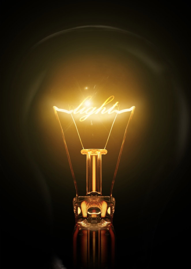 Create a light bulb text effect in photoshop for Lamp light photoshop
