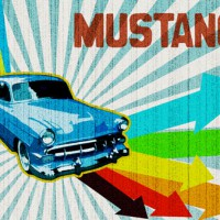 Retro Ford Mustang illustration in Photoshop