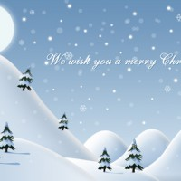 Beautiful snowy Christmas landscape illustration