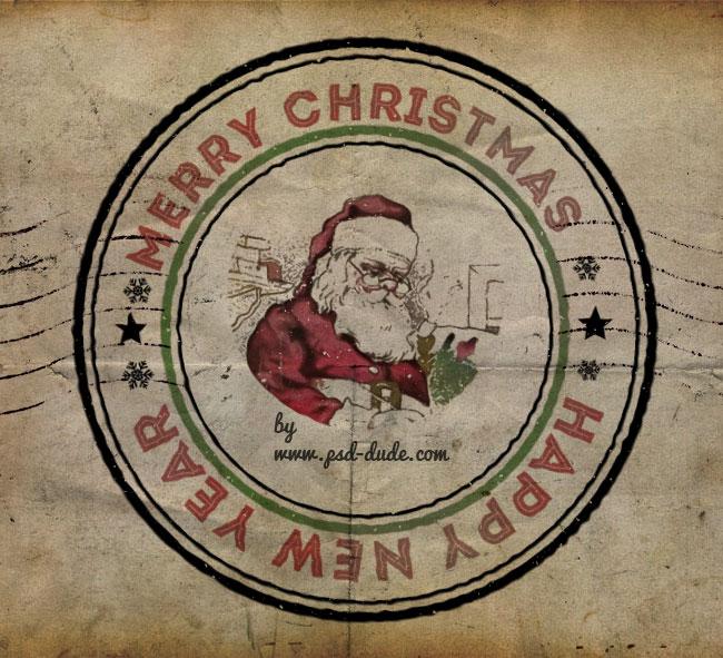 vintage christmas rubberstamp
