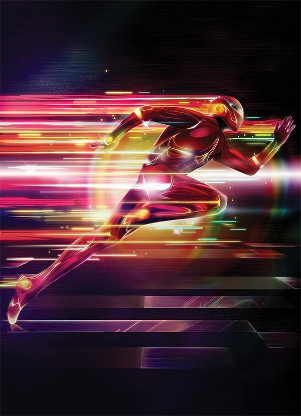 motion effects superhero illustration