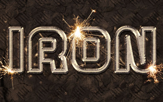 sparks iron text effect Photoshop